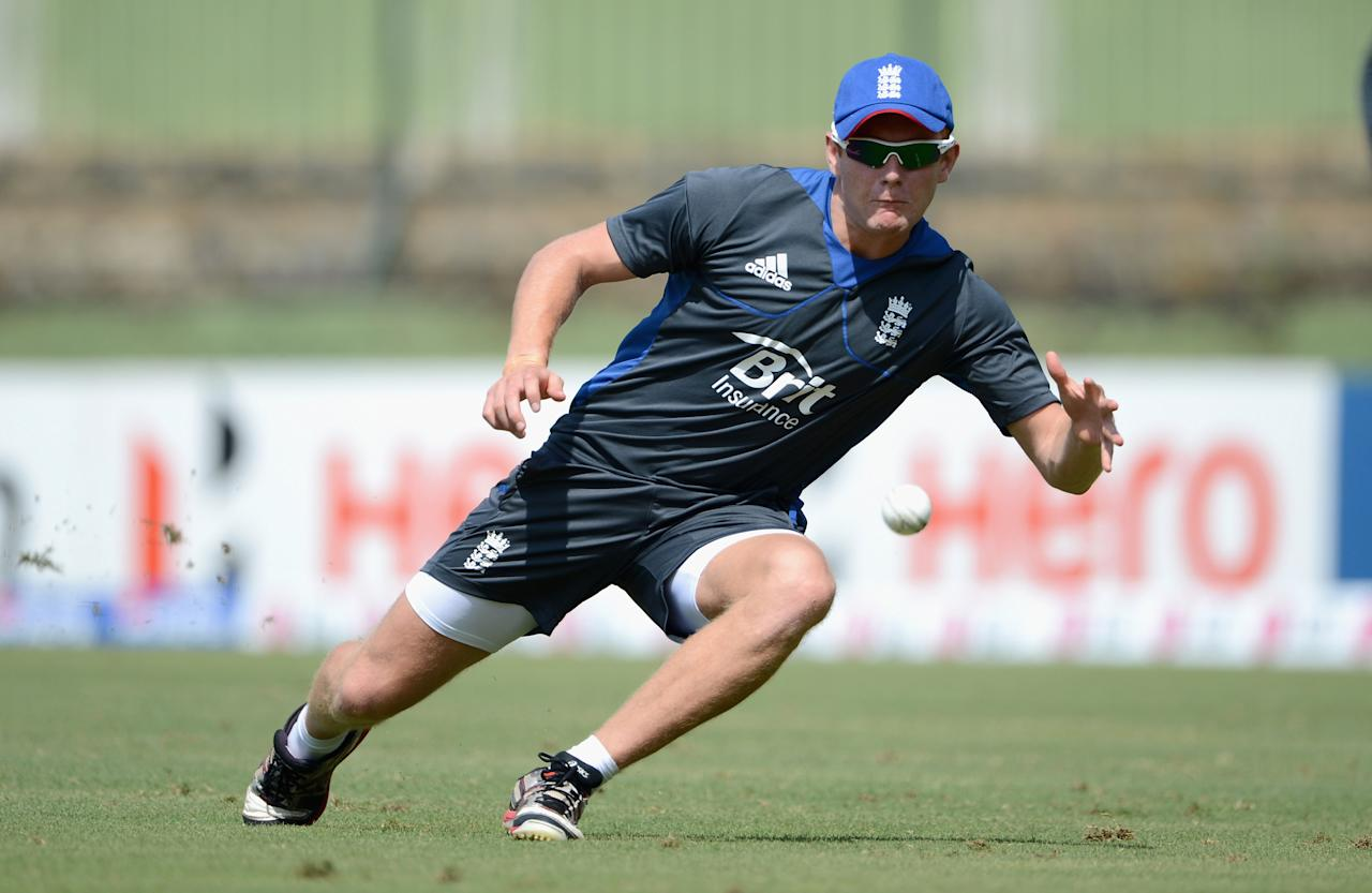 KANDY, SRI LANKA - SEPTEMBER 26:  Jonathan Bairstow of England takes part in a fielding drill during a nets session at Pallekele Cricket Stadium on September 26, 2012 in Kandy, Sri Lanka.  (Photo by Gareth Copley/Getty Images,)