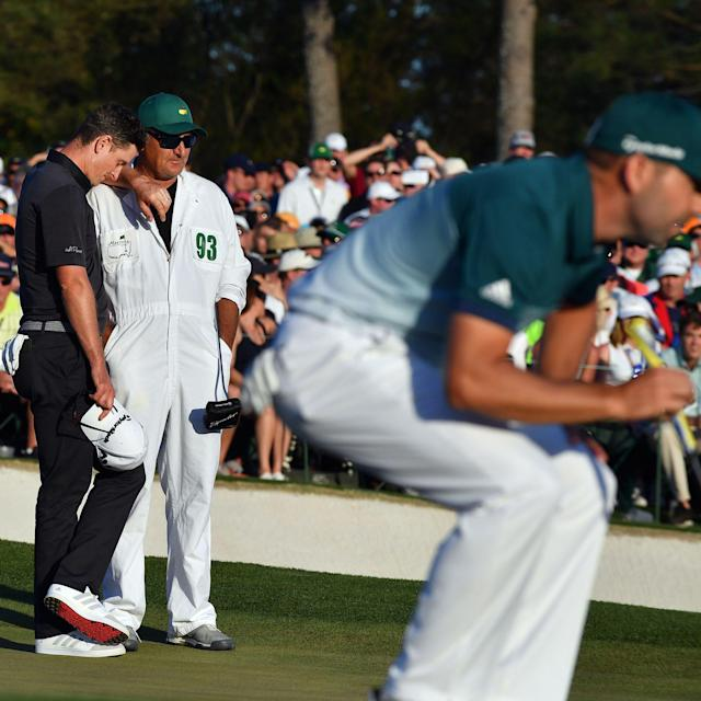 <span>Rose was the perfect sportsman at Augusta on Sunday</span> <span>Credit: REX FEATURES </span>