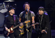 "FILE - In this March 15, 2016 file photo, Bruce Springsteen, center, performs with Nils Lofgren, left, and Steven Van Zandt of the E Street Band during their concert at the Los Angeles Sports Arena in Los Angeles. Springsteen's latest album, ""Letter To You"" will be released on Oct. 23. (Photo by Chris Pizzello/Invision/AP, File)"