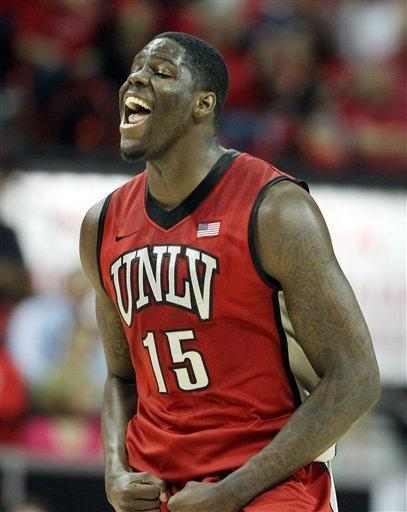 UNLV's Anthony Bennett, of Canada, reacts after sinking a 3-point basket during the first half of a Mountain West Conference tournament NCAA college basketball game against Colorado State on Friday, March 15, 2013, in Las Vegas. (AP Photo/Isaac Brekken)