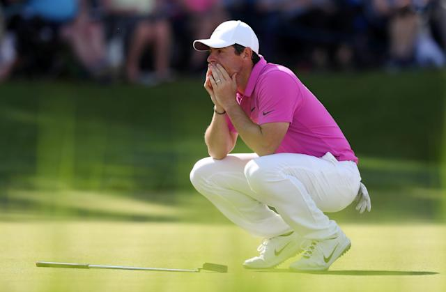 Golf - European Tour - BMW PGA Championship - Wentworth Club, Virginia Water, Britain - May 27, 2018 Northern Ireland's Rory McIlroy reacts after missing a putt for eagle on the 18th green during the final round Action Images via Reuters/Peter Cziborra