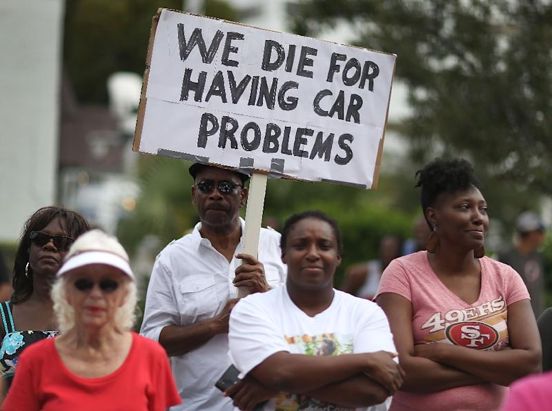 Demonstrators protest the shooting death of Corey Jones in West Palm Beach at a 2015 rally