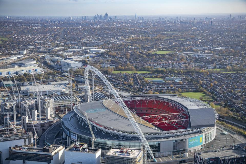 Aerial view of Wembley Park and Wembley Stadium, Brent, England, with the towers of Central London in the far distance. (Photo: Jason Hawkes/Caters News)