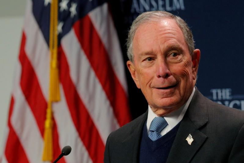 FILE PHOTO: Former New York City Mayor Bloomberg speaks at the Institute of Politics at Saint Anselm College in Manchester