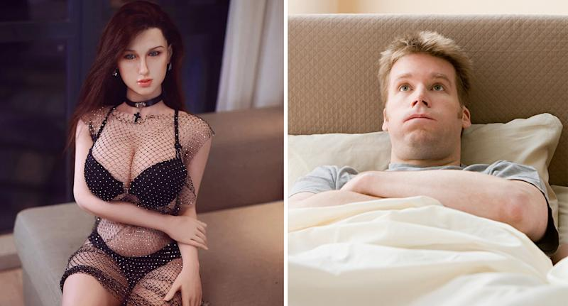 A photo of a Southern Treasures sex doll left, and right a file image of a man in bed. Source: SouthernTreasures/Getty