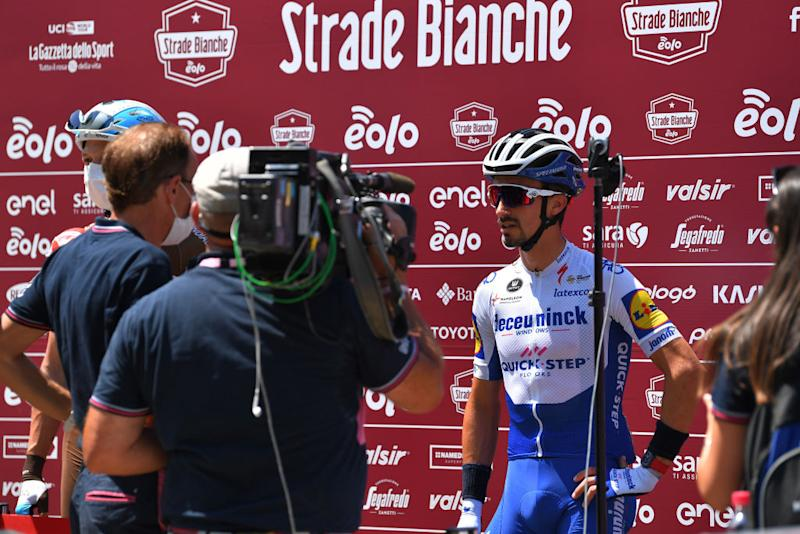 SIENA ITALY AUGUST 01 Start Oliver Naesen of Belgium and Team AG2R La Mondiale Julian Alaphilippe of France and Team Deceuninck QuickStep Interview Press Media during the Eroica 14th Strade Bianche 2020 Men a 184km race from Siena to SienaPiazza del Campo StradeBianche on August 01 2020 in Siena Italy Photo by Tim de WaeleGetty Images