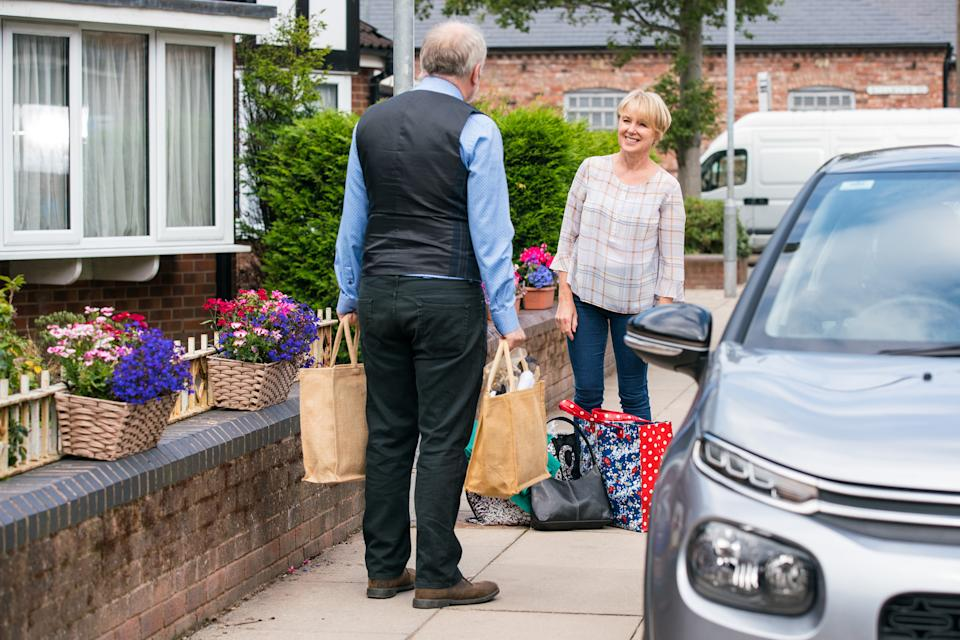 FROM ITV  STRICT EMBARGO - No Use Before Tuesday 10th August 2021  Coronation Street - Ep 10404  Monday 16th August 2021 - 1st Ep  . Sally Metcalfe [SALLY DYNEVOR] spots Fergus [TOBY HADOKE] in the street and apologises for her cafe rant.  But when she learns that Fergus himself issued her parking ticket, Sally loses her cool and Fergus scurries away.  Picture contact David.crook@itv.com   Photographer - Danielle Baguley  This photograph is (C) ITV Plc and can only be reproduced for editorial purposes directly in connection with the programme or event mentioned above, or ITV plc. Once made available by ITV plc Picture Desk, this photograph can be reproduced once only up until the transmission [TX] date and no reproduction fee will be charged. Any subsequent usage may incur a fee. This photograph must not be manipulated [excluding basic cropping] in a manner which alters the visual appearance of the person photographed deemed detrimental or inappropriate by ITV plc Picture Desk. This photograph must not be syndicated to any other company, publication or website, or permanently archived, without the express written permission of ITV Picture Desk. Full Terms and conditions are available on  www.itv.com/presscentre/itvpictures/terms
