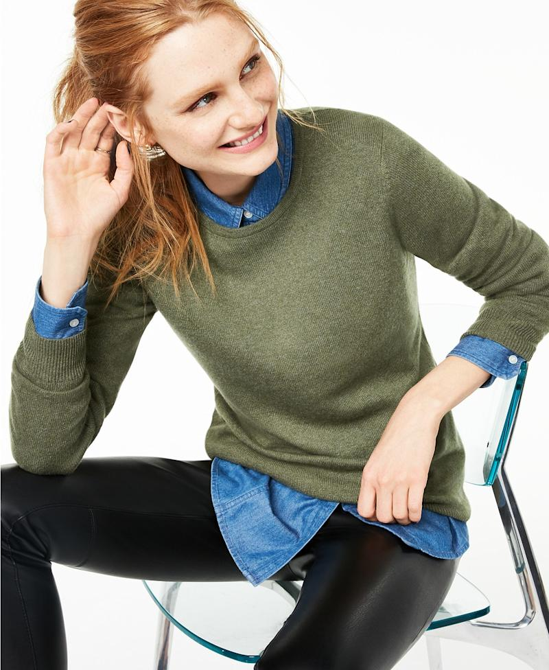 Crew-Neck Cashmere Sweater. (Photo: Macys)