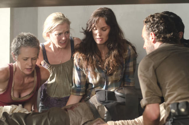"Carol (Melissa Suzanne McBride), Beth Greene (Emily Kinney), Lori Grimes (Sarah Wayne Callies) and Rick Grimes (Andrew Lincoln) in ""The Walking Dead"" episode, ""Sick."""