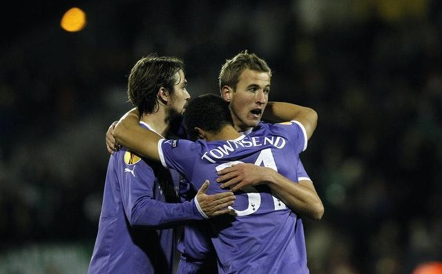 Harry Kane, right, grabbed his first goal for Tottenham at the age of 18 in a 4-0 win at Shamrock Rovers in the Europa League back in December, 2011
