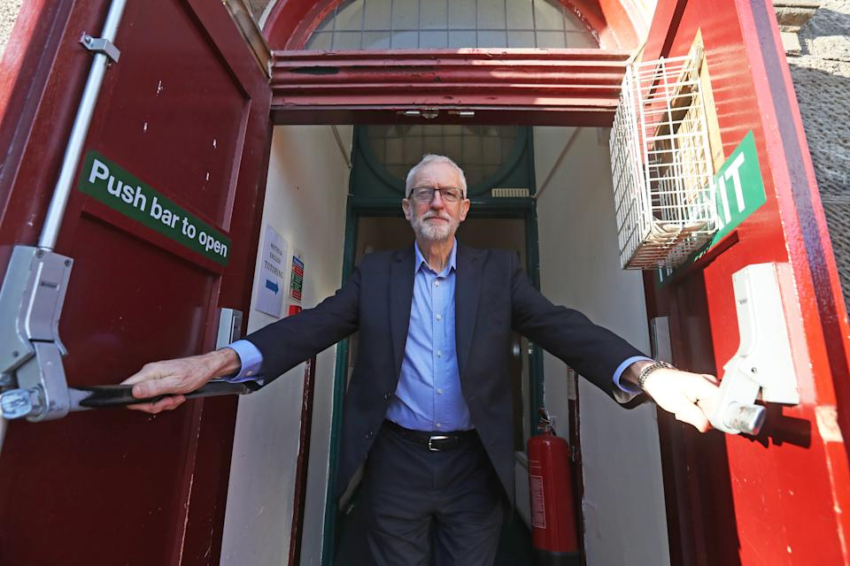 Labour leader Jeremy Corbyn leaves after speaking at an activists training event at the GLO Centre in Motherwell, Scotland.