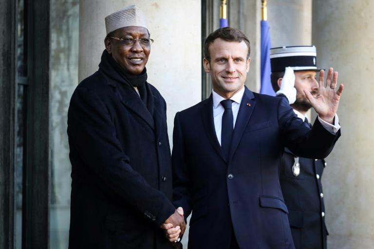 France's President Emmanuel Macron welcomes Chad's President Idriss Deby as he arrives at the Elysee presidential palace in 2019