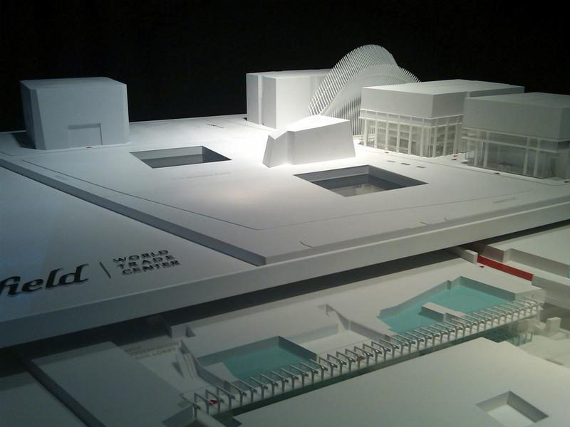 A model of the planned retail space at the World Trade Center, which will be above ground and two-stories below ground