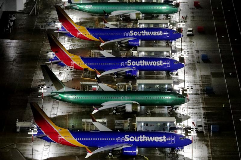Aerial photos showing Boeing 737 Max airplanes parked at Boeing Field in Seattle, Washington