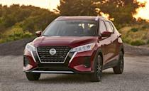 """<p>The <a href=""""https://www.caranddriver.com/nissan/kicks"""" rel=""""nofollow noopener"""" target=""""_blank"""" data-ylk=""""slk:Kicks"""" class=""""link rapid-noclick-resp"""">Kicks</a> is another model here wearing new shoes for 2021. Nissan's smallest crossover, and the second-cheapest option on the list, can carry 19 carry-ons, but has more cargo space behind the rear seats than Outlander Sport, Niro, Crosstrek, and Trax. Front passengers benefit from large door pockets and a big glovebox. </p><ul><li>Base price: $20,650</li><li>Carry-on capacity, rear seats folded: 19 suitcases</li><li>Cargo volume, rear seats folded: 32 cubic feet<br></li><li>Cargo volume, behind rearmost row of seats: 25 cubic feet<br></li></ul><p><a class=""""link rapid-noclick-resp"""" href=""""https://www.caranddriver.com/nissan/kicks/specs"""" rel=""""nofollow noopener"""" target=""""_blank"""" data-ylk=""""slk:MORE KICKS SPECS"""">MORE KICKS SPECS </a></p>"""