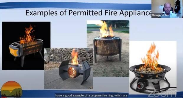 Brent Baker, manager of protective services for Tofino, shows examples of district-approved beach fire devices at an online council meeting on April 26.