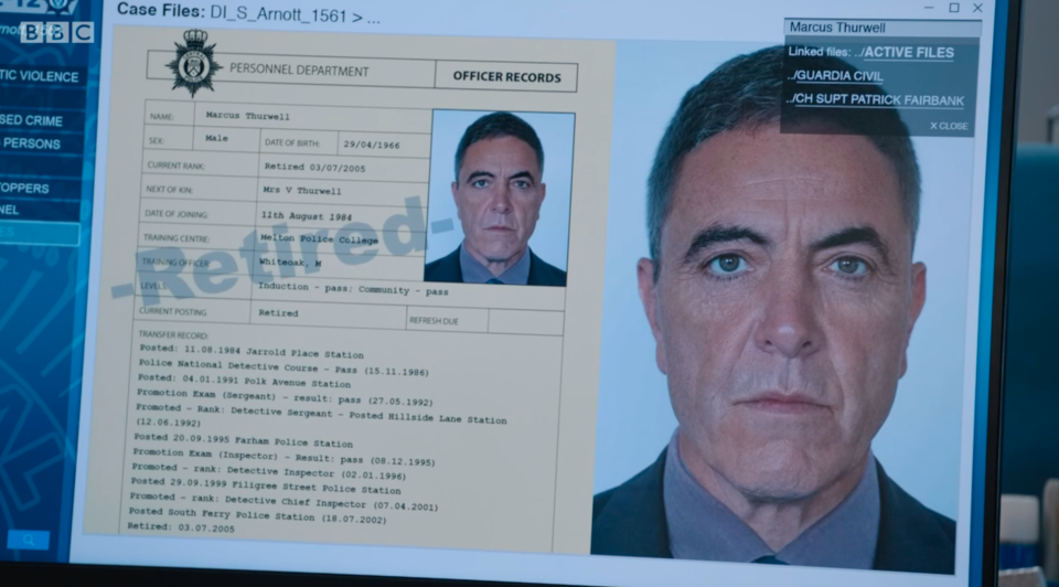 Photo cop: James Nesbitt as former DCI Marcus Thurwell. (BBC)