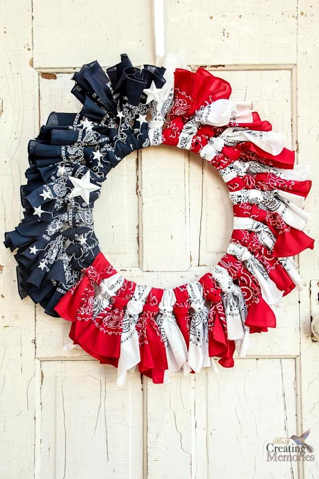 "<p>The classic bandana print is one of the most patriotic patterns. Tie bandanas in red, white, and blue around a wire wreath form to recreate this DIY project.</p><p><strong>Get the tutorial at <a href=""https://busycreatingmemories.com/patriotic-bandana-wreath/"" target=""_blank"">Busy Creating Memories</a>.</strong></p><p><strong><a class=""body-btn-link"" href=""https://www.amazon.com/12Pcs-Bandanas-Cotton-Paisley-Wristband/dp/B06XGV3S31/ref=sr_1_2?tag=syn-yahoo-20&ascsubtag=%5Bartid%7C10050.g.4464%5Bsrc%7Cyahoo-us"" target=""_blank"">SHOP BANDANAS</a></strong></p>"