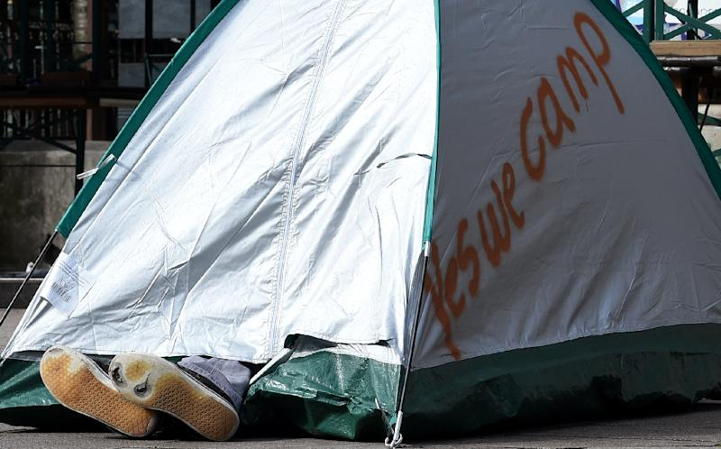 Demonstrators finally won permission to set up about 600 tents in two parks late Wednesday (AFP Photo/Christof Stache)