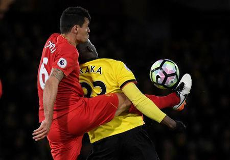 Britain Football Soccer - Watford v Liverpool - Premier League - Vicarage Road - 1/5/17 Liverpool's Dejan Lovren in action with Watford's Stefano Okaka Reuters / Toby Melville Livepic