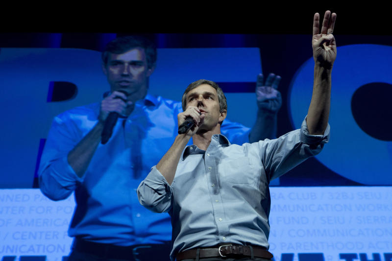 FILE - In this Monday, April 1, 2019 file photo, Democratic presidential candidate and former Texas congressman Beto O'Rourke speaks in Washington. On Friday, April 12, 2019, The Associated Press has found that stories circulating on the internet that Rourke's biggest donor is liberal financier George Soros, are untrue. (AP Photo/Jose Luis Magana)
