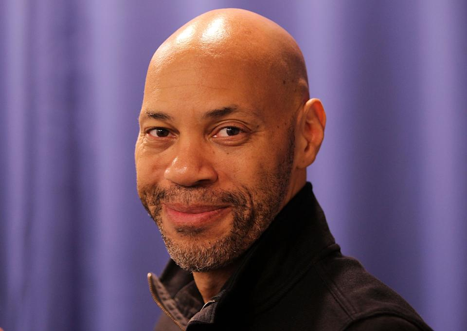 """WASHINGTON, DC - JANUARY 15:  Screenwriter of '12 Years a Slave' John Ridley poses for a photo at """"A Conversation With John Ridley"""" event presented by the National Association of Black Journalists at National Press Club on January 15, 2014 in Washington, DC.  (Photo by Paul Morigi/WireImage)"""