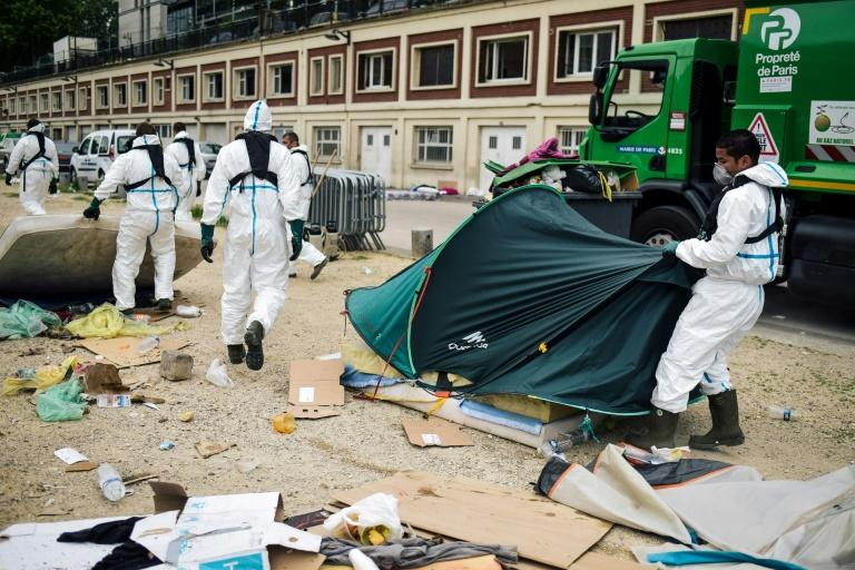 On Monday, security forces cleared a migrant camp along the scenic Canal de Saint-Martin in Paris