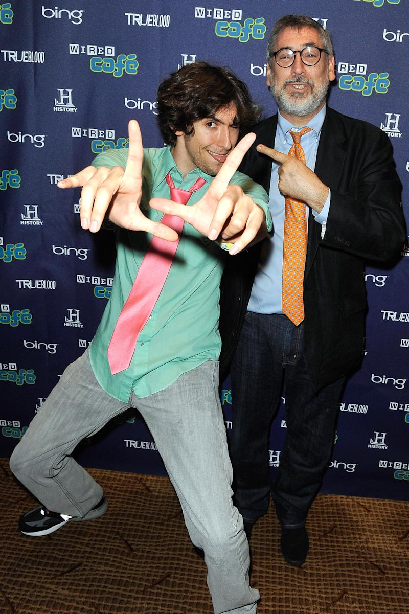 Screenwriter Max Landis and director John Landis attend the WIRED Cafe during day 2 at Comic-Com at Palm Terrace At The Omni Hotel on July 22, 2011 in San Diego, California.