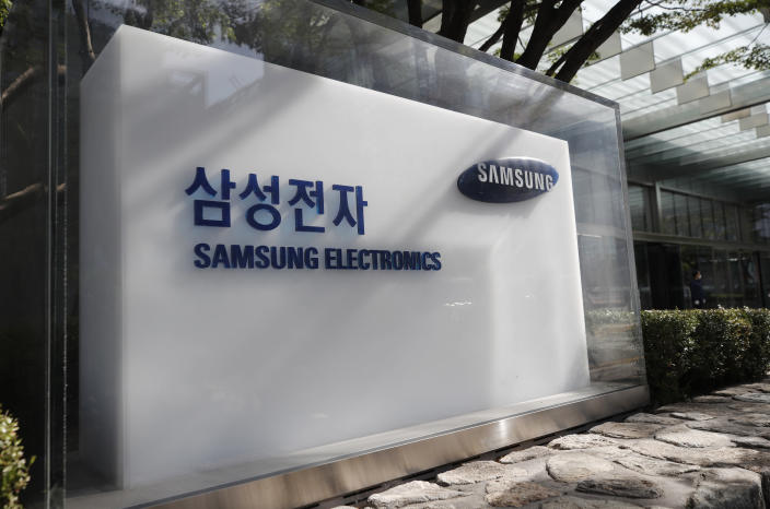 A logo of Samsung Electronics is seen outside of Samsung Electronics Seocho building in Seoul, South Korea, Sunday, Oct. 25, 2020. Lee Kun-Hee, the ailing Samsung Electronics chairman who transformed the small television maker into a global giant of consumer electronics, has died, a Samsung statement said Sunday. He was 78. (AP Photo/Lee Jin-man)