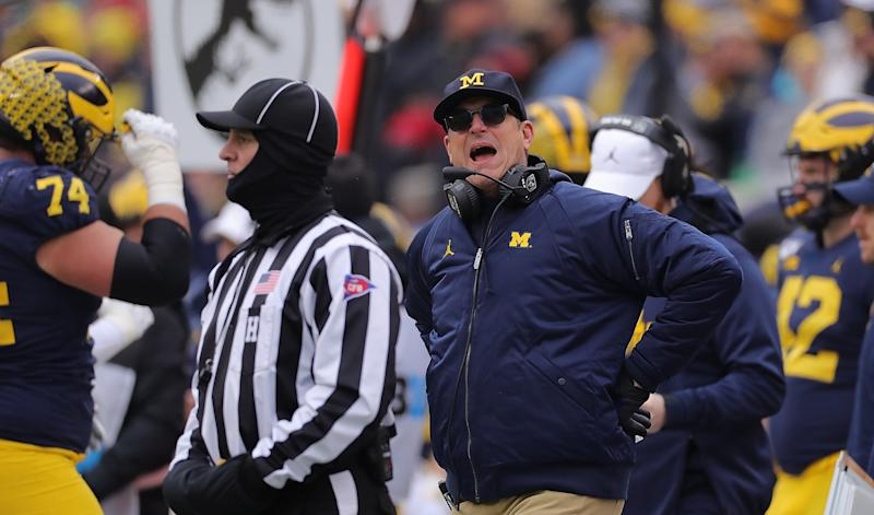 Michigan Wolverines coach Jim Harbaugh reacts to a call during a loss to the Ohio State Buckeyes on Nov. 30, 2019. (Leon Halip/Getty Images)