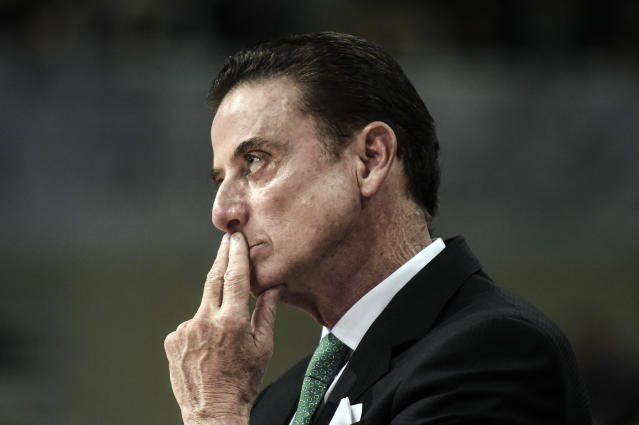 Panathinaikos Athens coach Rick Pitino looks on from the sideline during a game. (Angelos Tzortzinis/Getty Images)