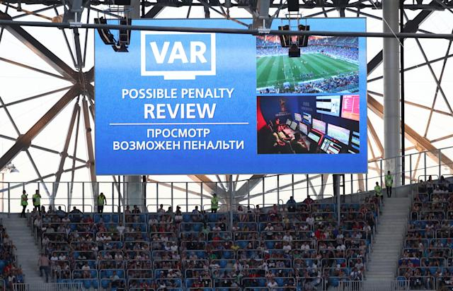 Soccer Football - World Cup - Group D - Nigeria vs Iceland - Volgograd Arena, Volgograd, Russia - June 22, 2018 General view of the scoreboard showing a VAR referral of a penalty decision for Iceland REUTERS/Sergio Perez