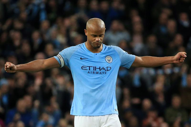 MANCHESTER, ENGLAND - MAY 06: Vincent Kompany of Manchester City celebrates victory after the Premier League match between Manchester City and Leicester City at Etihad Stadium on May 06, 2019 in Manchester, United Kingdom. (Photo by Tom Flathers/Man City via Getty Images)