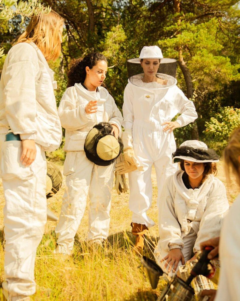 Angelina Jolie with the female beekeepers of the 2021 Women for Bees graduating class