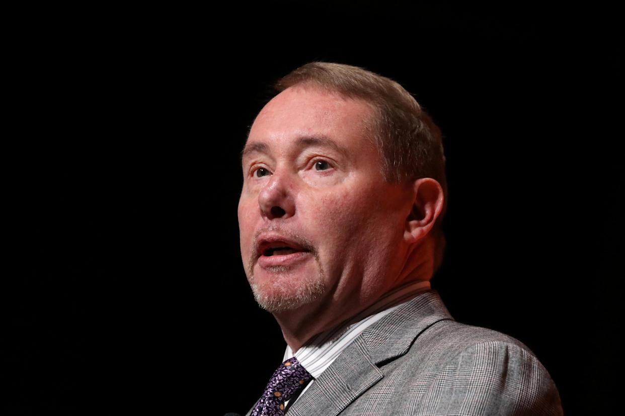 Jeffrey Gundlach, CEO of DoubleLine Capital LP, presents during the 2019 Sohn Investment Conference in New York City, U.S., May 6, 2019. REUTERS/Brendan McDermid