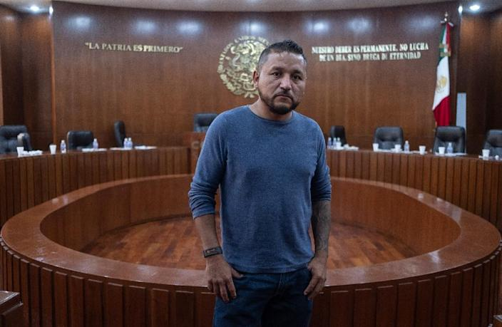 Pedro Carrizales plans to take his seat in the state Congress of Mexico's San Luis Potosi in his jeans, T-shirt and sneakers, the same clothes he wears every day (AFP Photo/MAURICIO PALOS)