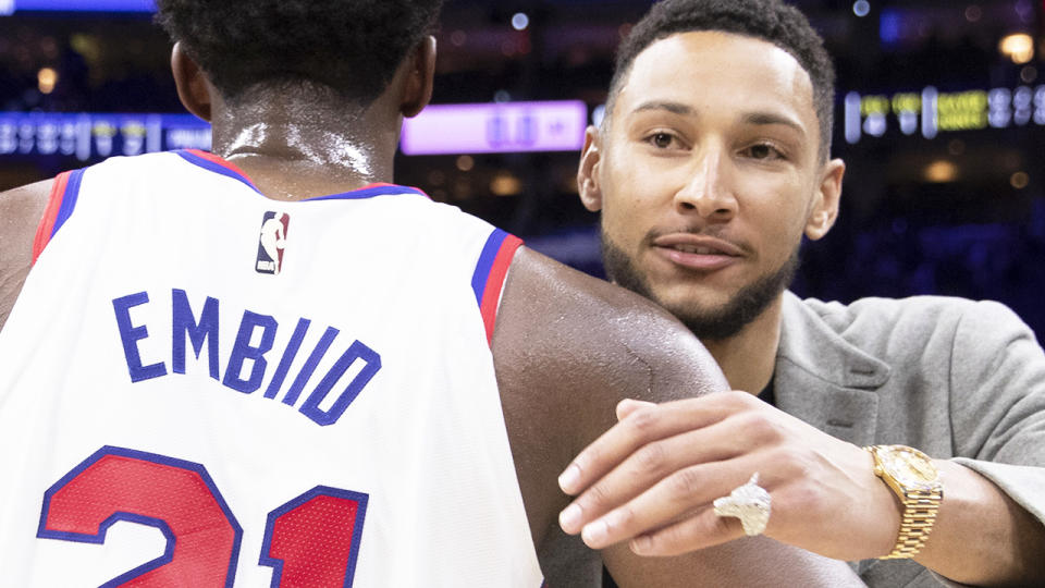 Ben Simmons surprised 76ers officials by unexpectedly showing up at the team's stadium for a regulation Covid test, breaking a weeks-long standoff. (Photo by Mitchell Leff/Getty Images)