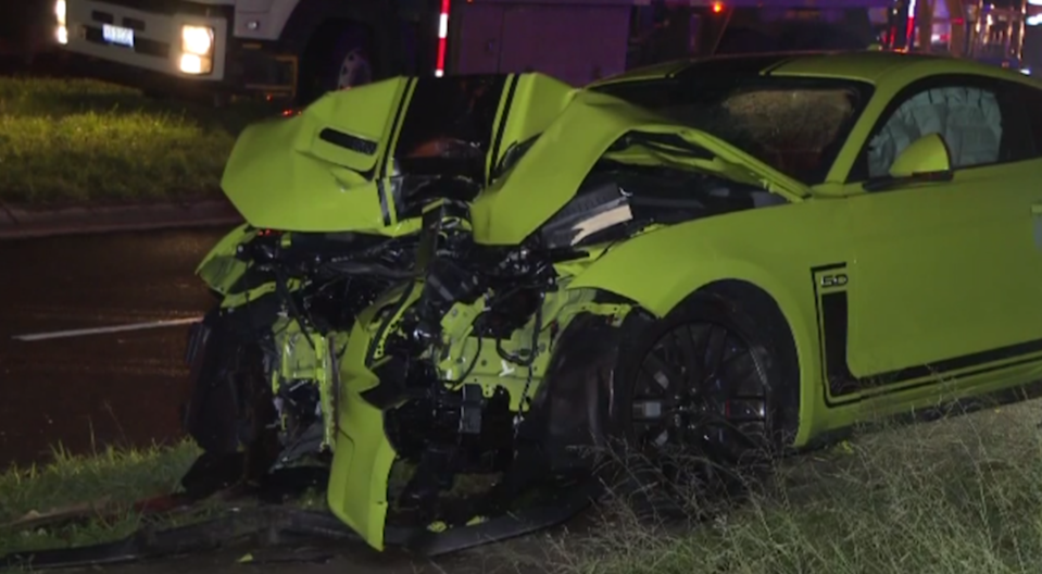 A P-plater has written off his dad's new Mustang. Source: 7News