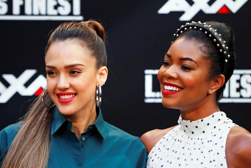 Jessica Alba Towers In Lace Platforms While Gabrielle Union Chooses