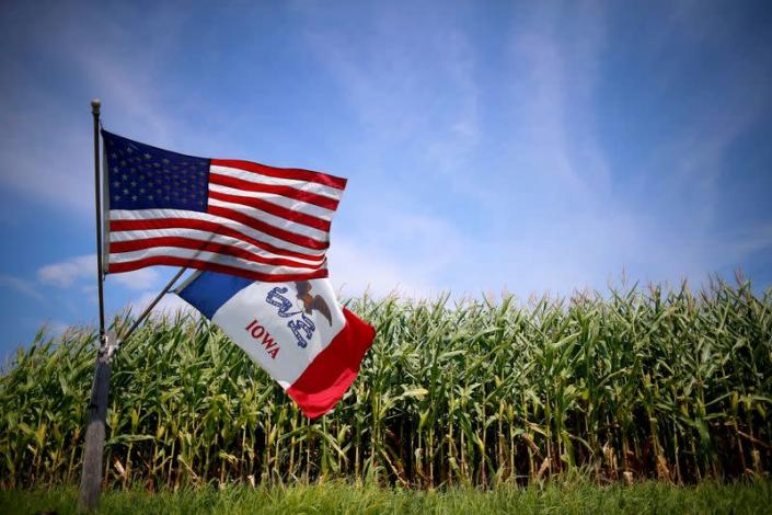 FILE PHOTO: A U.S. and Iowa state flag are seen next to a corn field in Grand Mound