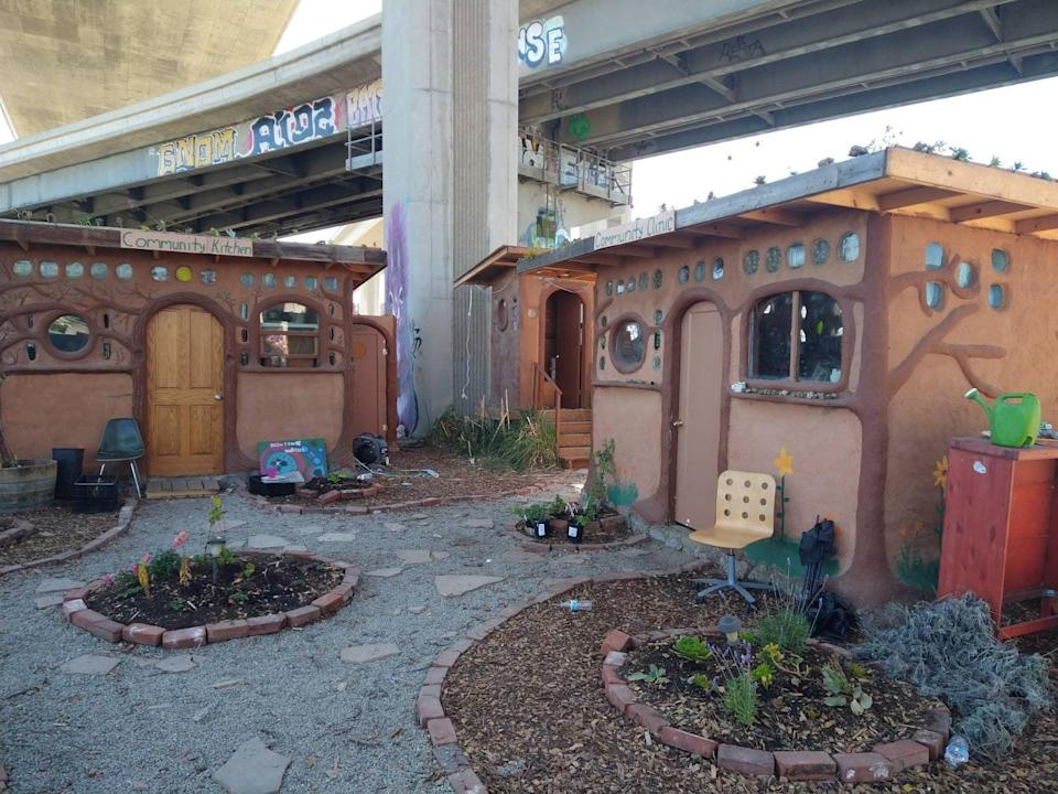 The kitchen and community clinic at Cob on Wood, an eco-village built inside a massive homeless encampment in Oakland, where residents may soon be evicted. (Courtesy of Cob on Wood)