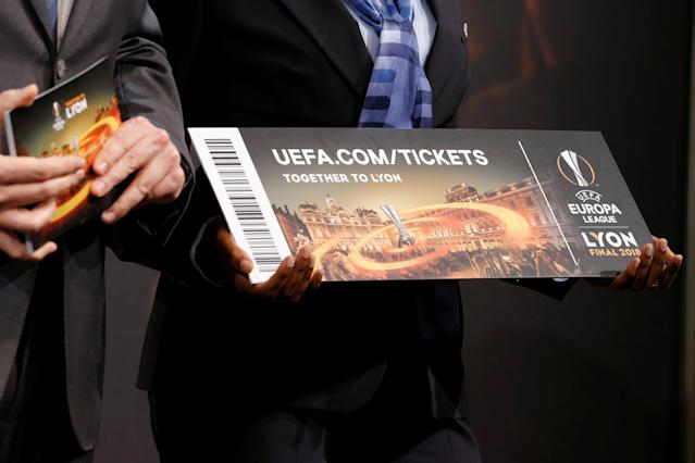 Soccer Football - Europa League Quarter-Final Draw - Nyon, Switzerland - March 16, 2018 General view of a ticket REUTERS/Pierre Albouy