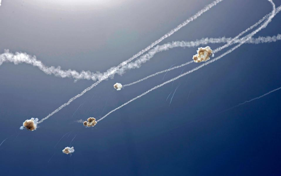 Missile interceptions above the southern Israeli city of Ashkelon