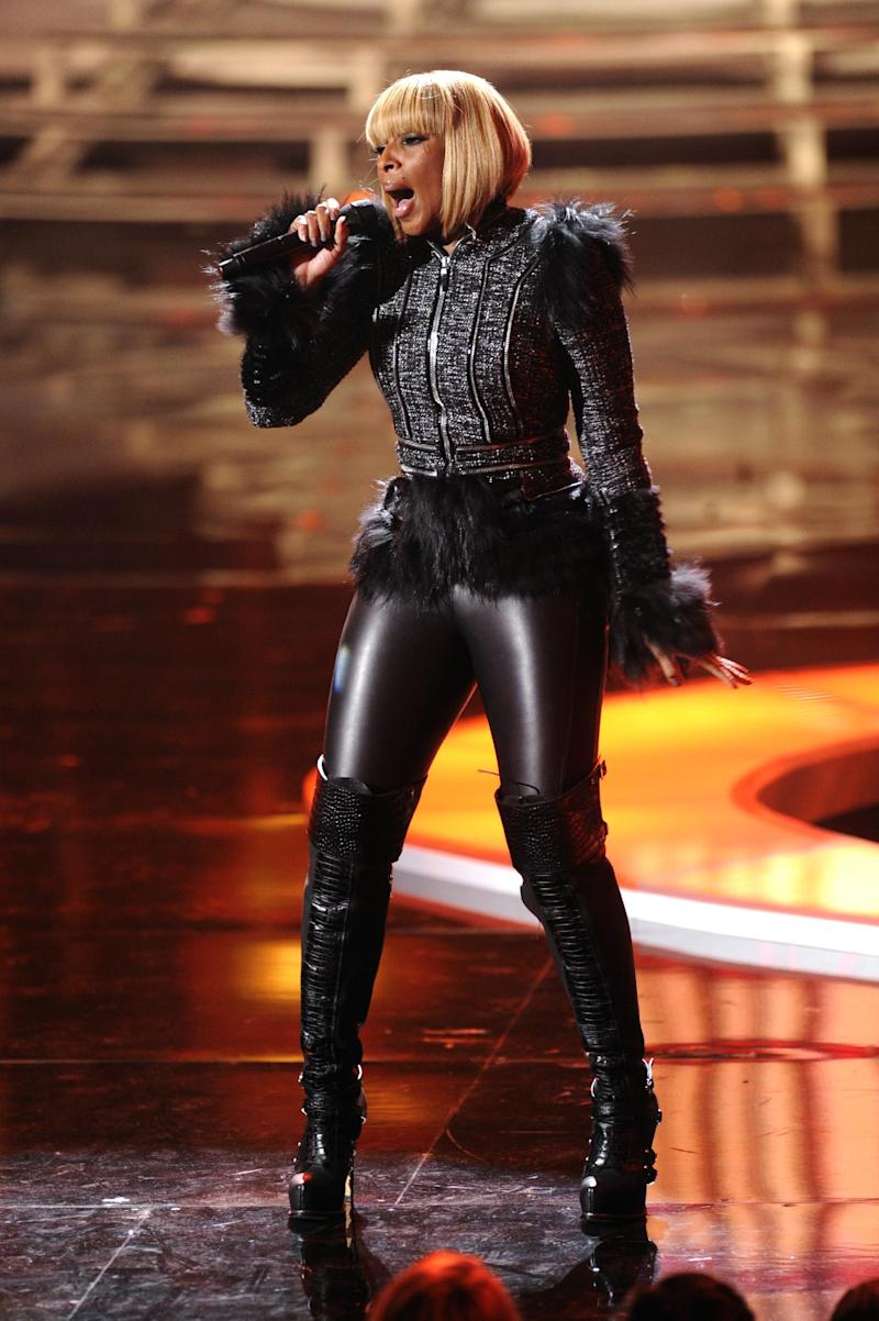 "FILE - In this Dec. 18, 2011 file photo, Mary J. Blige performs onstage at the ""Vh1 Divas Celebrates Soul"" in New York. Blige has a rap alter-ego named Brook Lynn who first appeared on Blige's 2005 album ""The Breakthrough."" (AP Photo/Evan Agostini, file)"