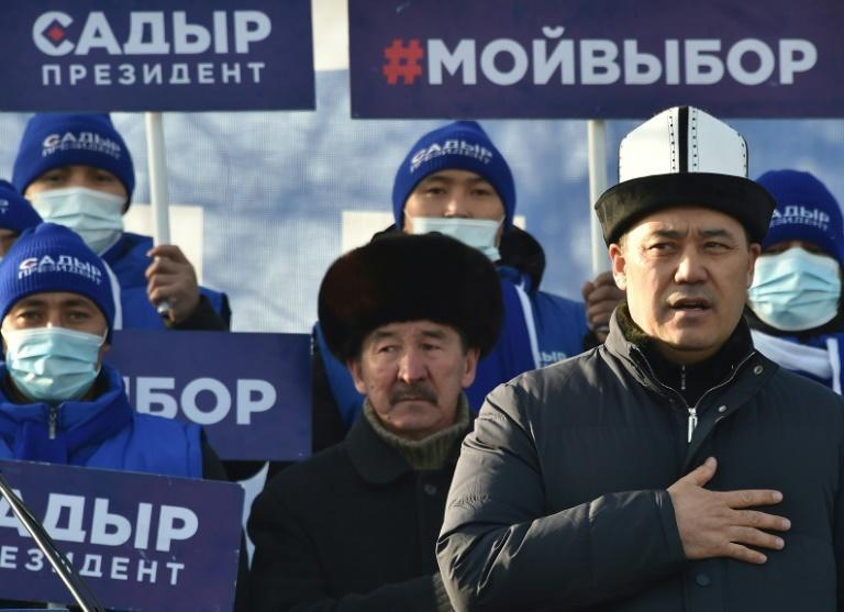 Clad in a traditional Kalpak felt hat, populist Japarov, seen addressing a rally in Bishkek, looks set to claim the presidency just weeks after his release from jail