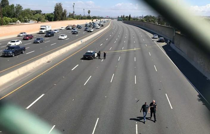 Investigation on the northbound 55 Freeway near Chapman