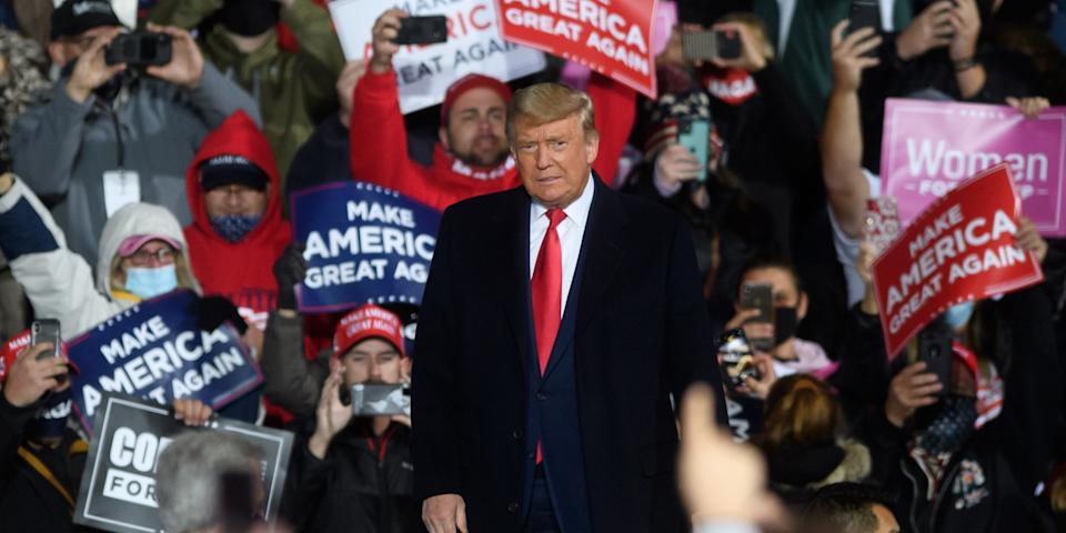 ERIE, PA - OCTOBER 20: U.S. President Donald Trump arrives for a campaign rally at North Coast Air aeronautical services at Erie International Airport on October 20, 2020 in Erie, Pennsylvania. Trump is holding the rally two days ahead of the final presidential debate. (Photo by Jeff Swensen/Getty Images)