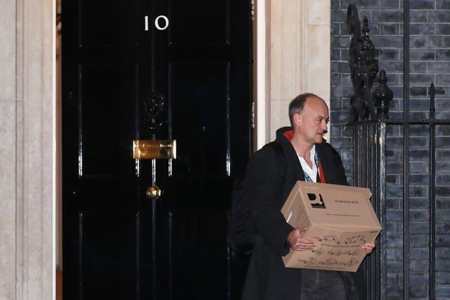 Prime Minister Boris Johnson's top aide Dominic Cummings leaves 10 Downing Street, London, with a