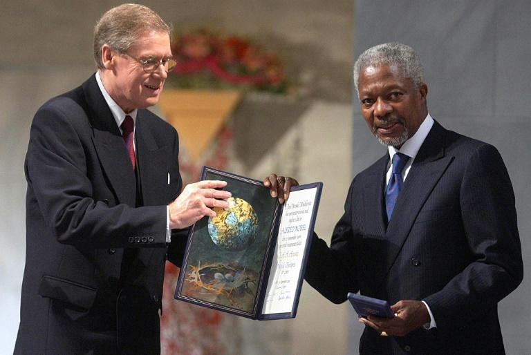 "Annan is awarded the Nobel Peace Prize jointly with the UN in 2001 ""for their work for a better organised and more peaceful world"""