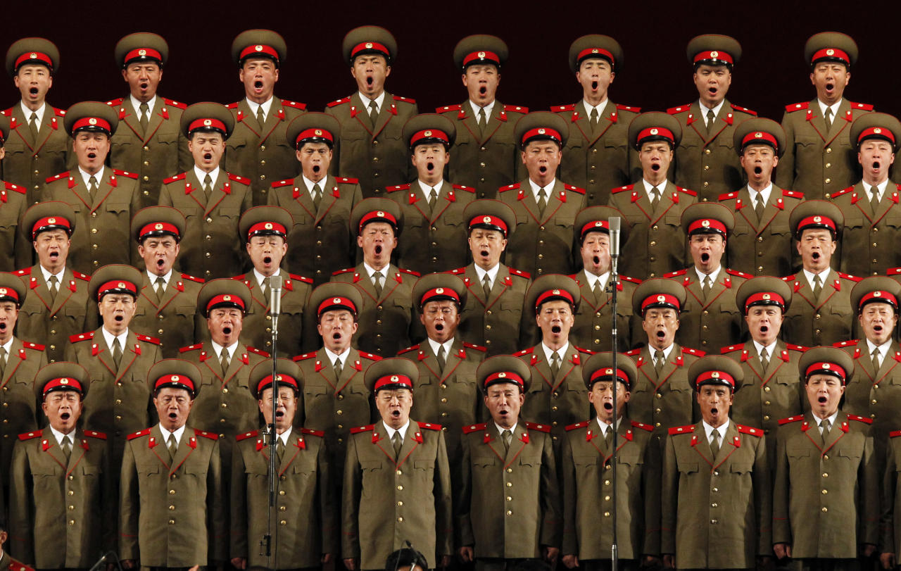North Korean military performers take part in a concert to mark the 80th anniversary of the founding of the North Korean army in Pyongyang, North Korea, Wednesday, April 25, 2012. (AP Photo/Ng Han Guan)